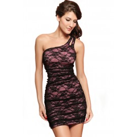 Elegant One shoulder Mini Sexy Style Dress With G-String Set Pink