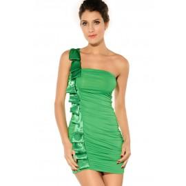 Elegant One Shoulder Satin Salmon Mini Dress Green