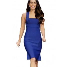 Elegant Royal Blue Wide Straps Bodycon Party Dress