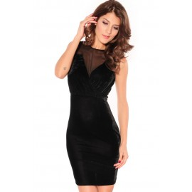 Elegant Velvet Crew Neck Dress Black