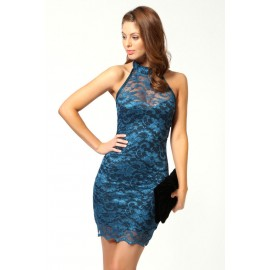 Elisa Sweetheart Halterneck Lace Bodycon Dress Blue