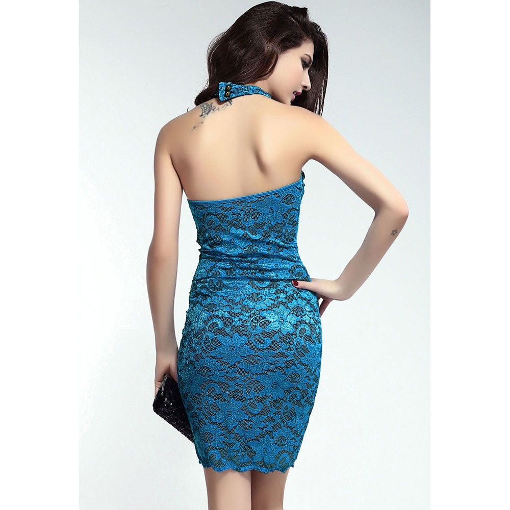 Sweetheart Halterneck Lace Bodycon Dress Blue