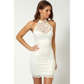 Elisa Sweetheart Halterneck Lace Bodycon Mini Dress White