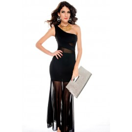 Evie One Shoulder Mesh Insert Fishtail Black Maxi Dress