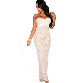 Exquisite Sexy Strapless Lace Layout White Evening Dress