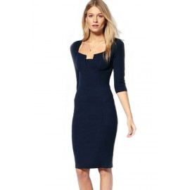 Exquisite Solid Neckline Blue Midi Dress