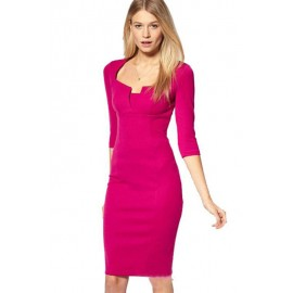 Exquisite Solid Neckline Rosy Pencil Midi Party Dress