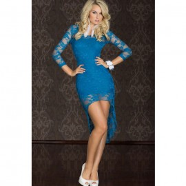 Lace Sleeves Fancy Dress Blue