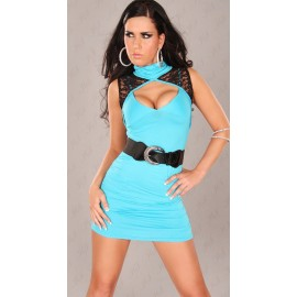 Fashion Clubwear Mini Dress with Belt Blue