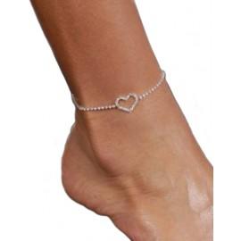 Rhinestone Heart Ankle Bracelet