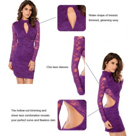 Classic Fashion Knot Front Lace Mini Dress Purple