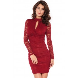 Knot Front Lace Mini Dress Red