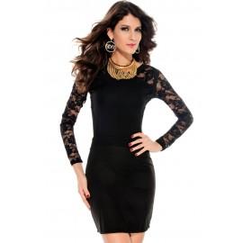 Black Long Lace Sleeves Mini Dress