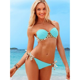 Blue Strapless Open Cups Swimwear