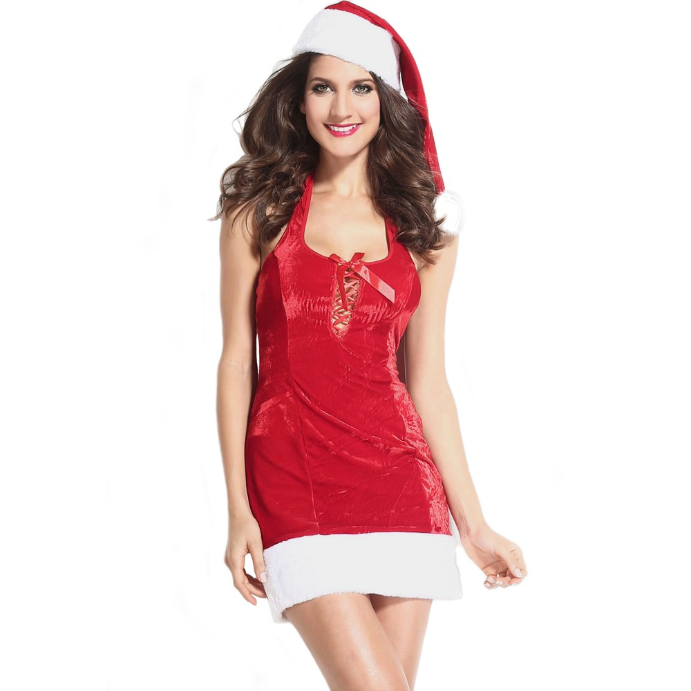 a08b1ff200d Cute Festive Lace up Mrs Claus Red Dress Christmas Costume