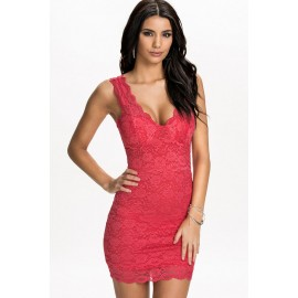 Fierce Sexy Red Cups Lace Night Club Party Dress