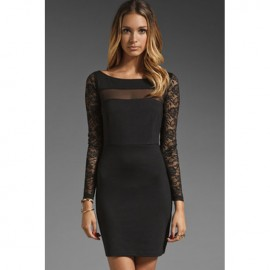 Parley Ponte Mesh Lace Fitted Midi Dress Black