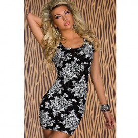 Fitted Stretch with Flower Print Mini Dress Black