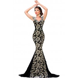 Black Flowery Palette Detail Debutante Mermaid Gown Evening Dress