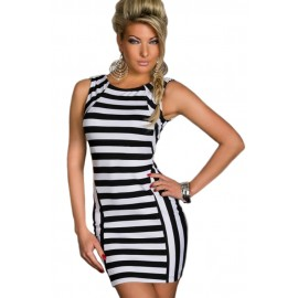 Form Fitting Stretch Mini Dress in Black & White Strips