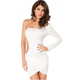 Forplay One Sleeve White Mini Dress