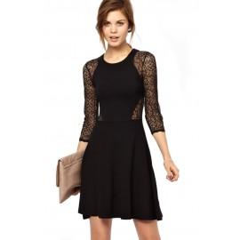 Vienna Lace Mini Black Dress