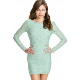 Cyan Backless Lace Mini Dress