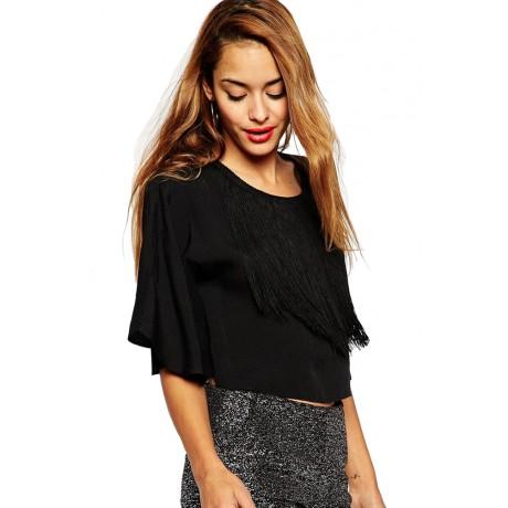 Black Kimono Sleeve Crop Top