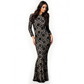 Lace Hollow Out Evening Dress Black