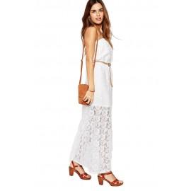 Glamorous White Maxi Dress in Lace