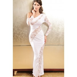 Glamorous One Armed Diva Evening Night Club Dress White