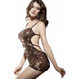 Gold Red Sequin Clubbing Dress