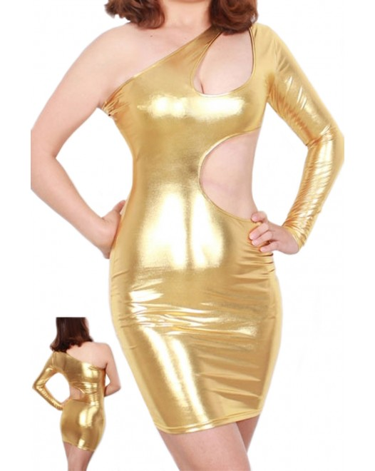 Gold Shiny Metallic Bodycon Club Mini Dress