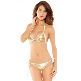 Gold Triangle Top Full Back Lined Bottom Bikini Set