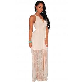 Gorgeous Lace Slit White Maxi Dress