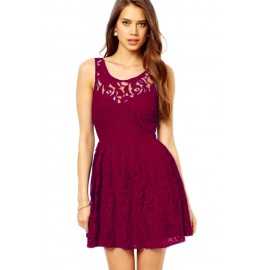Gorgeous Skater Red Dress in Lace with Open Back Berry