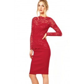 Graceful Red Lace Bodycon Fit Night Club Midi Dress