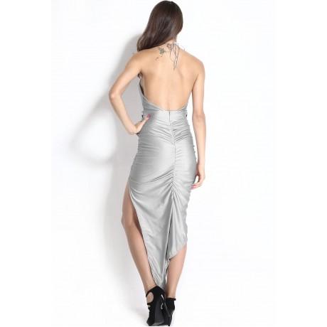 Bombshell Asymmetrical Hemline Evening Dress Gray