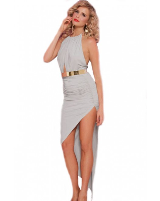 Bombshell Asymmetrical Hemline Evening Dress Gray
