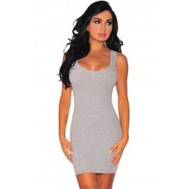 Gray Body Hugging Mini Dress