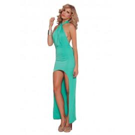 Green Halter Backless Evening Dress