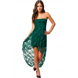 Knee-Length Bandeau Lace Evening Dress Green