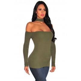 Green Off Shoulder Long Sleeve Top