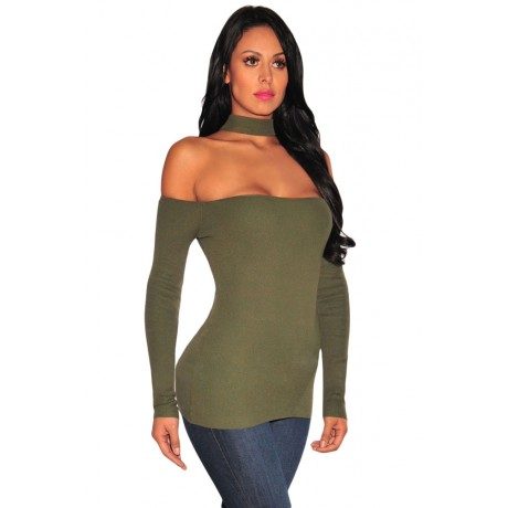 Green Choker Off Shoulder Long Sleeve Top