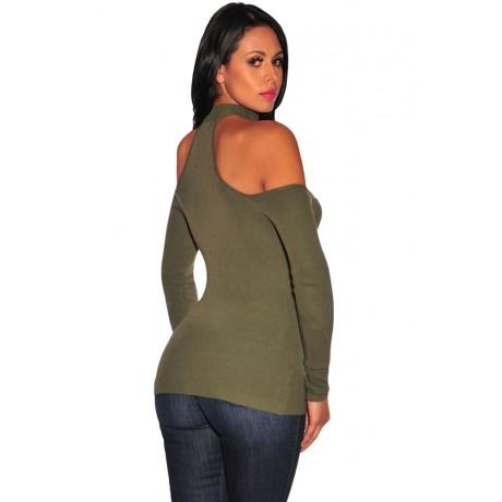Green Choker Off Shoulder Long Sleeve Top