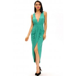 Green Draped Slit Front Solid High Low Maxi Dress