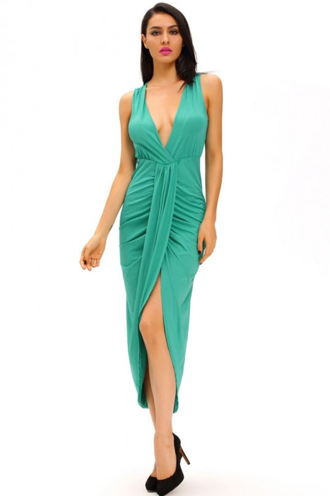 Draped Slit Front Solid High Low Maxi Dress