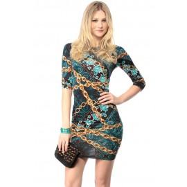 Green Gold Chain Print Bodycon Mini Dress