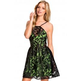 Green Lace Organza Mini Dress