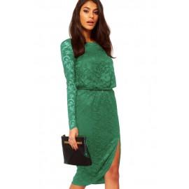 Green Lace Cowl Back Split Midi Dress